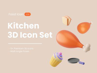 3D厨房美食图标 .xd .blend素材下载